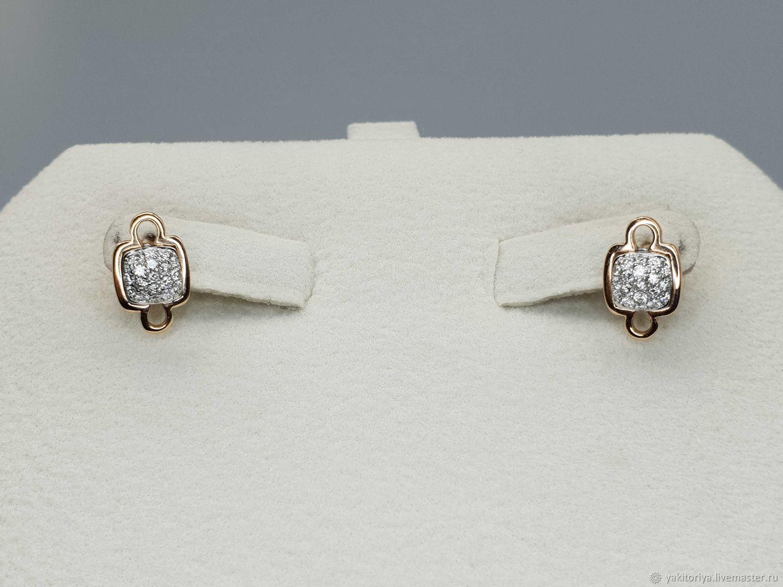 Gold diamond earrings 0,213 ct, Stud earrings, Moscow,  Фото №1