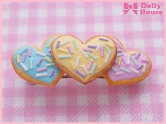 "Заколки ручной работы. Ярмарка Мастеров - ручная работа. Купить Заколка ""Triple Heart Cookies"". Handmade. Dolly house"
