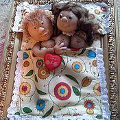 """Куклы и игрушки ручной работы. Ярмарка Мастеров - ручная работа коллаж в деревянной рамке  """"Влюбленные"""". Handmade."""