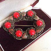 Винтаж handmade. Livemaster - original item Czech brooch filigree 30-ies of the coral. Handmade.