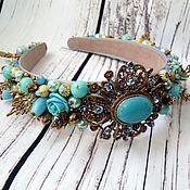 Украшения handmade. Livemaster - original item Turquoise embroidered headband in the style of Dolce & Gabbana. Handmade.