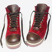 Обувь ручной работы handmade. Livemaster - original item Boots felted Burgundy with a leather toe and heel.. Handmade.