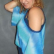 """Одежда ручной работы. Ярмарка Мастеров - ручная работа Болеро - шраг летучая мышь """"Вся в голубом"""". Handmade."""