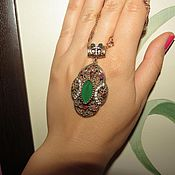 Украшения handmade. Livemaster - original item pendant of 925 silver with a chrysoprase with rubies and zircons. Handmade.