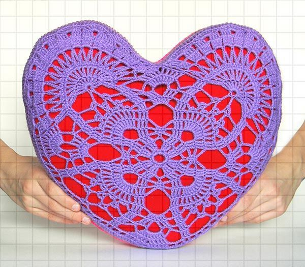 Вязаная подушка в форме сердца, Подушки, Краснодар,  Фото №1
