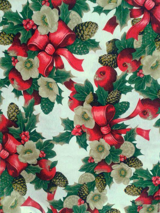 Новогодняя ткань. Новогодний интерьер. Новогодний текстиль. Новый Год. Скатерть. Шторы. Подушки. Ткань новогодняя Красные Яблоки