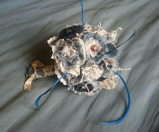 """Свадебные цветы ручной работы. Ярмарка Мастеров - ручная работа. Купить букет невесты """"Джинсовое настроение"""". Handmade. Индивидуальный дизайн"""