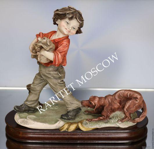Винтажные предметы интерьера. Ярмарка Мастеров - ручная работа. Купить Мальчик собака щенок Каподимонте Италия 19. Handmade. Разноцветный