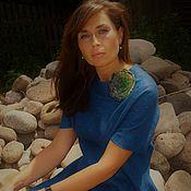 """Одежда ручной работы. Ярмарка Мастеров - ручная работа """"Кобальтовая синь"""" платье валяное с шёлком. Handmade."""