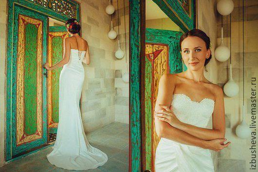 Одежда и аксессуары ручной работы. Ярмарка Мастеров - ручная работа. Купить Свадебное платье для Валерии. Handmade. Белый, платье с корсетом