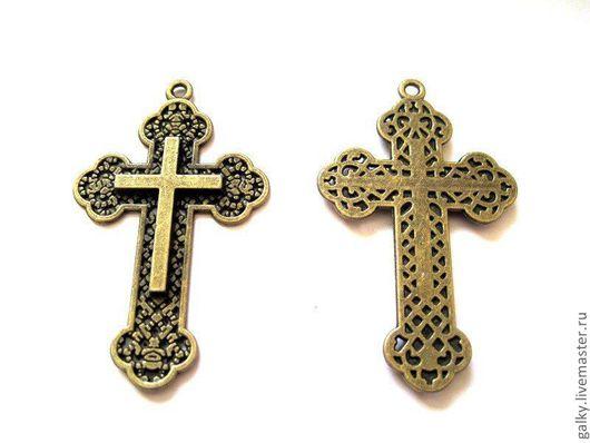 Для украшений ручной работы. Ярмарка Мастеров - ручная работа. Купить Подвеска Крест широкий античная бронза. Handmade.