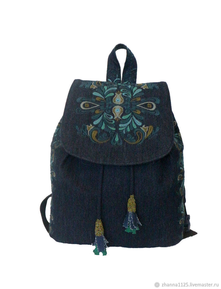 Рюкзаки ручной работы. Ярмарка Мастеров - ручная работа. Купить Джинсовый рюкзак 'Карина' с вышивкой. Handmade. Рюкзак, необычная сумка