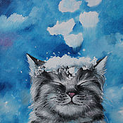 Картины и панно ручной работы. Ярмарка Мастеров - ручная работа Картина маслом  Снег идет. Handmade.