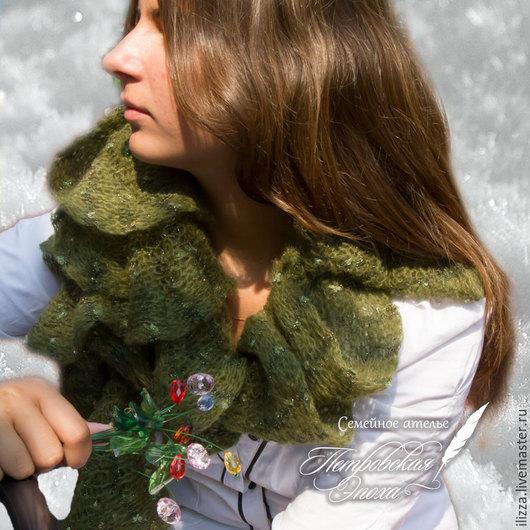 Шарфы и шарфики ручной работы. Ярмарка Мастеров - ручная работа. Купить Шарфик «Звездное небо» оливковое. Handmade. Италия