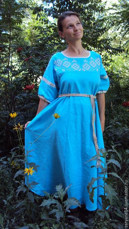 Платья ручной работы. Ярмарка Мастеров - ручная работа. Купить Очаровательное платье с вышивкой. Handmade. Бирюзовый, платье в пол