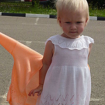 Работы для детей, ручной работы. Ярмарка Мастеров - ручная работа Ажурное платье и кофта для девочки. Машинная вязка. Handmade.