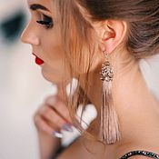 Украшения handmade. Livemaster - original item Earrings with silky beige tassels and embroidery. Handmade.