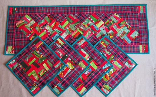 Текстиль, ковры ручной работы. Ярмарка Мастеров - ручная работа. Купить Набор Яркий праздник. Handmade. Красно-зеленый