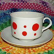 """Посуда ручной работы. Ярмарка Мастеров - ручная работа Чайная чашка """"Горошки"""" СССР (белые в красный горох). Handmade."""