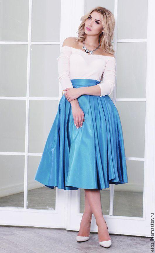Юбки ручной работы. Ярмарка Мастеров - ручная работа. Купить юбка из тафты. Handmade. Голубой, повседневная юбка, тафта