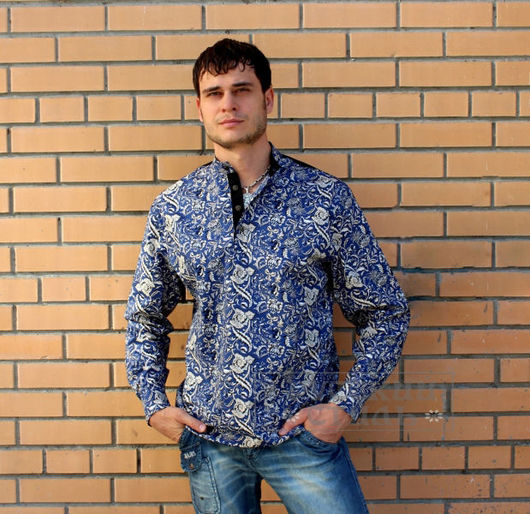 """Для мужчин, ручной работы. Ярмарка Мастеров - ручная работа. Купить Рубаха """"Княжеская"""". Handmade. Тёмно-синий, русский стиль"""