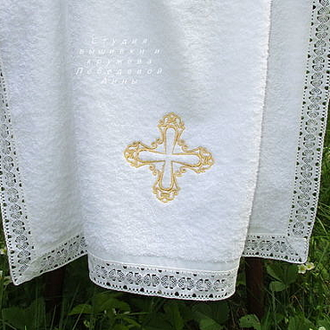 Works for children handmade. Livemaster - original item Towel for baptism 140/70 gold cross. Handmade.