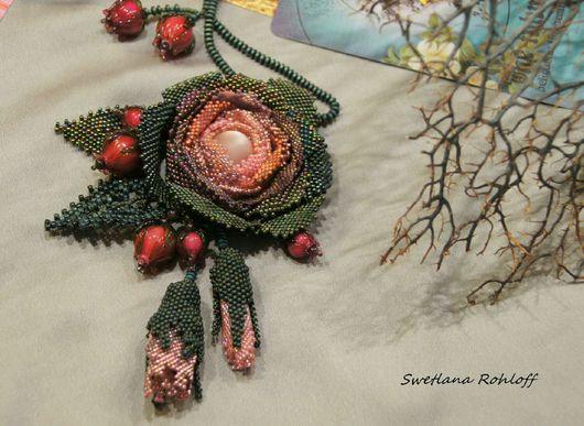 Кулоны, подвески ручной работы. Ярмарка Мастеров - ручная работа. Купить Подвеска ,,   Роза ,,. Handmade. Зеленый, японский бисер, цветы