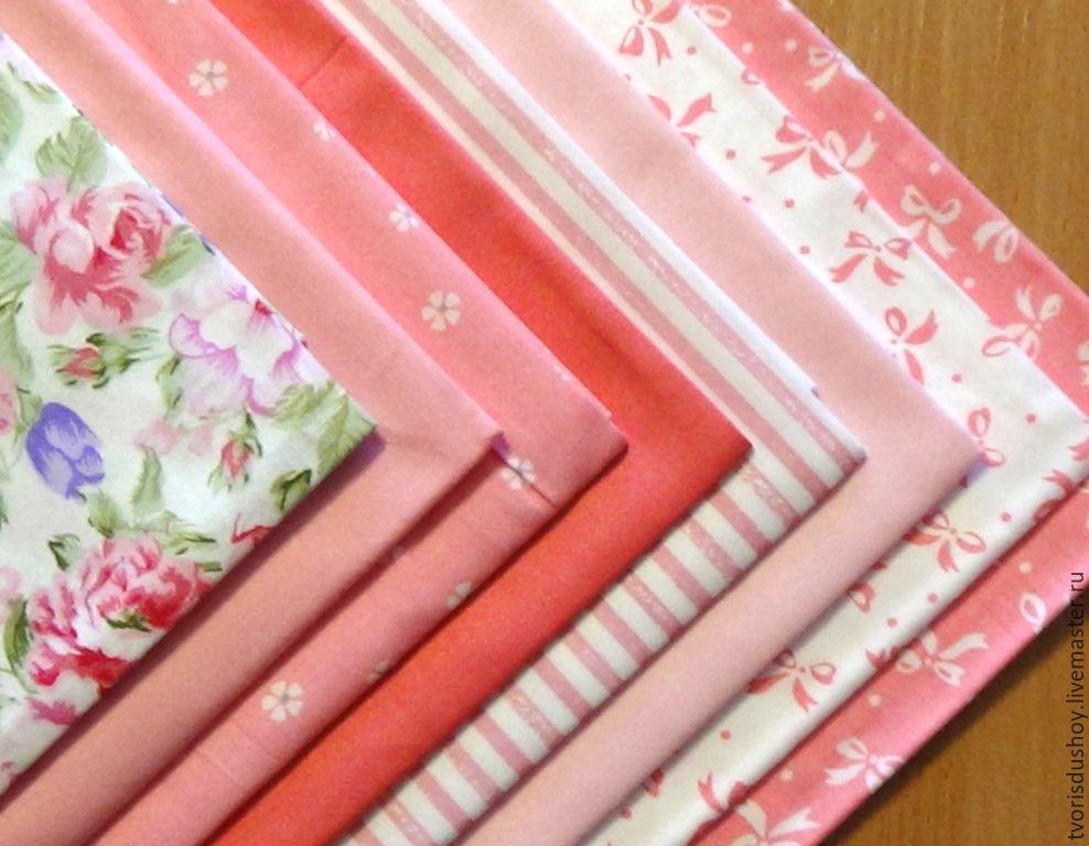 Шитье ручной работы. Ярмарка Мастеров - ручная работа. Купить Набор тканей из хлопка 8 отрезов  в розовых тонах 1. Handmade.