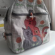 Backpacks handmade. Livemaster - original item A copy of the work Backpack womens linen Cats. Handmade.