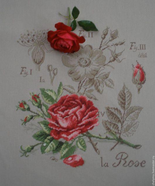 Картины цветов ручной работы. Ярмарка Мастеров - ручная работа. Купить вышивка Роза,цветочная серия etude botanique из французского журнала. Handmade.