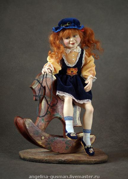 """Коллекционные куклы ручной работы. Ярмарка Мастеров - ручная работа. Купить Авторская кукла девочка на лошадке """"Покатай меня!"""". Handmade."""