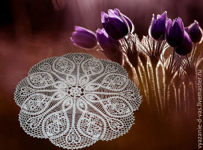 Crocheted napkin round large openwork White tenderness for home cottage, Swipe, Voronezh,  Фото №1