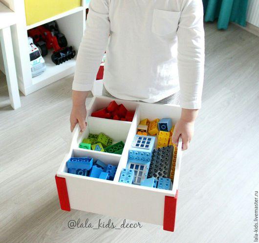 Детская ручной работы. Ярмарка Мастеров - ручная работа. Купить Ящик для игрушек с разделителями. Handmade. Белый, интерьер детской