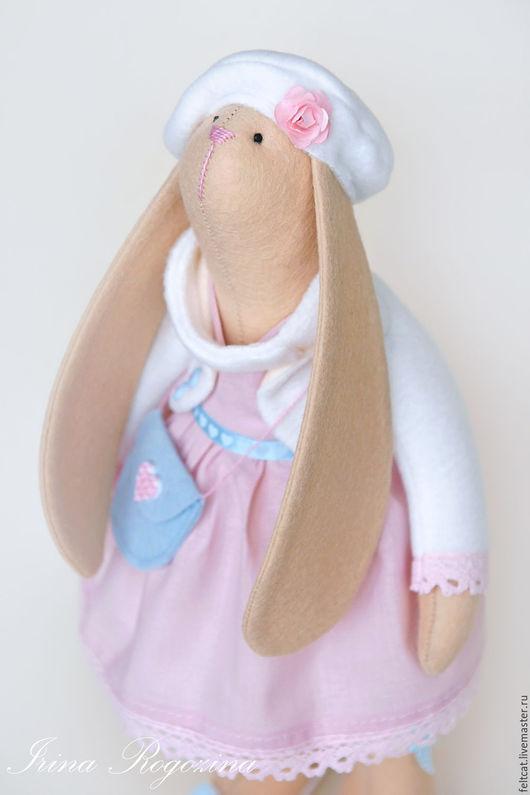 """Куклы Тильды ручной работы. Ярмарка Мастеров - ручная работа. Купить Зайка """"Cotton candy"""" с сумочкой. Handmade. Розовый"""