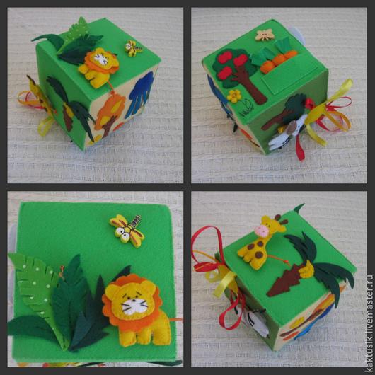 Развивающие игрушки ручной работы. Ярмарка Мастеров - ручная работа. Купить Развивающий кубик из фетра. Handmade. Разноцветный, фетр