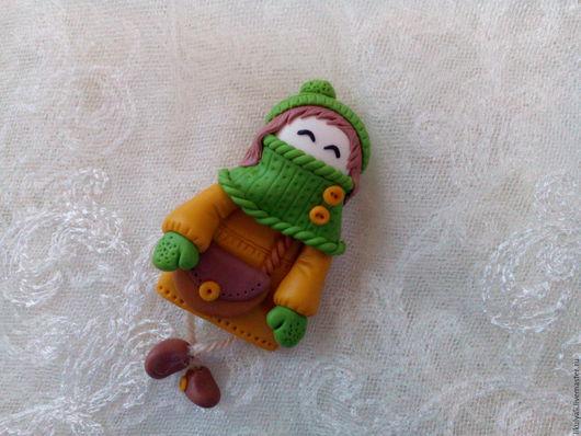 Броши ручной работы. Ярмарка Мастеров - ручная работа. Купить Брошь кукла. Handmade. Зеленый, брошь ручной работы