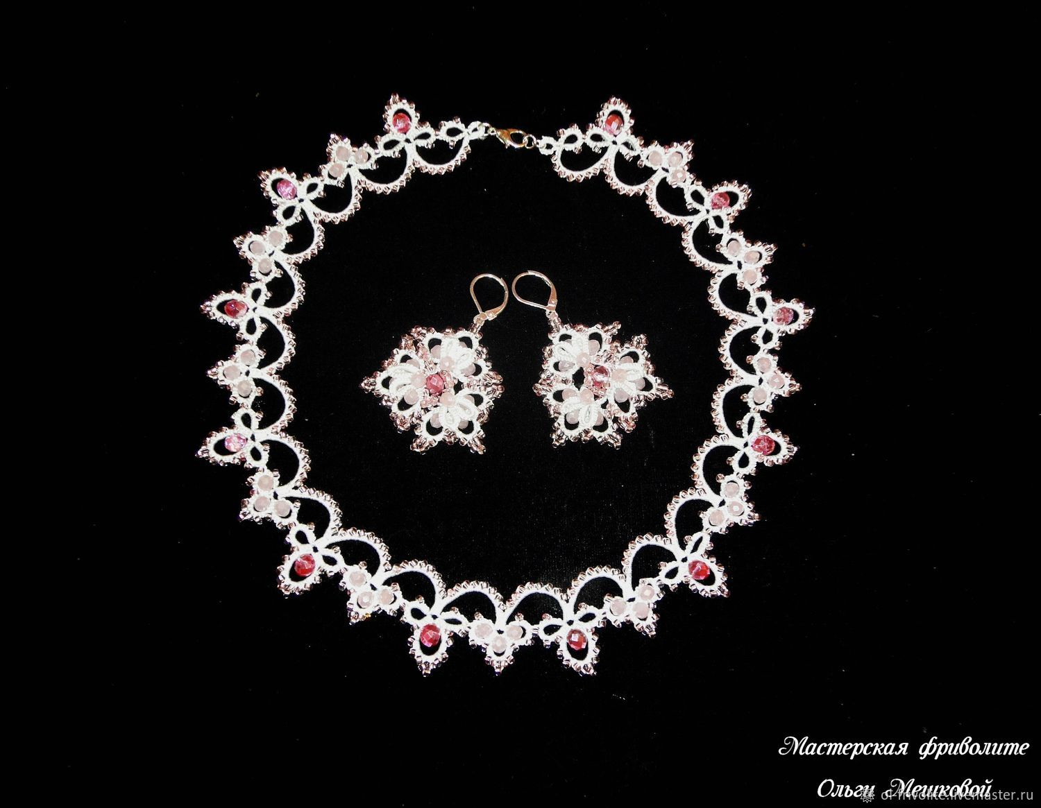 Jewelry sets: Delicate white and pink necklace and three-dimensional earrings, Jewelry Sets, Sayanogorsk,  Фото №1