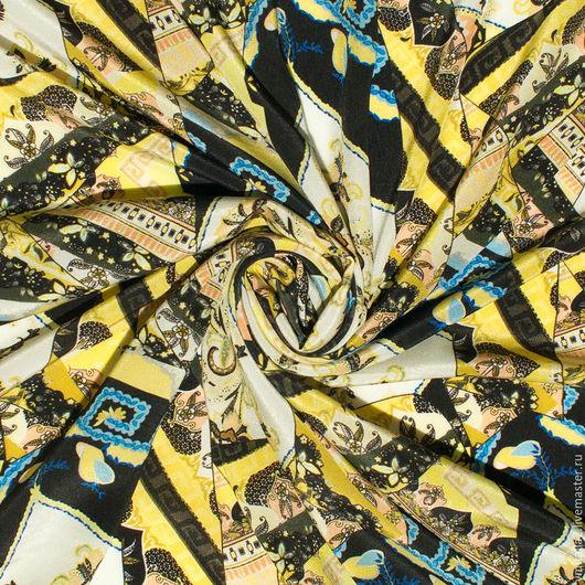 Шитье ручной работы. Ярмарка Мастеров - ручная работа. Купить Шелк креп МОЗАИКА желтый  ETRO. Handmade. Ткани Италии