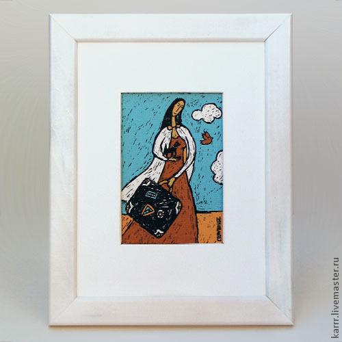 Юмор ручной работы. Ярмарка Мастеров - ручная работа. Купить Картина «Девушка с чемоданом». Handmade. Бирюзовый, рисунок, интерьер