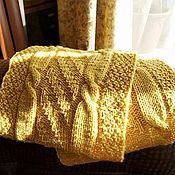 Аксессуары handmade. Livemaster - original item Snood knitted yellow with braids in two turns. Handmade.