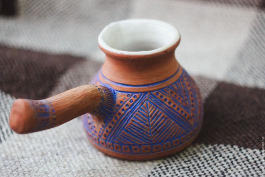Кухня ручной работы. Ярмарка Мастеров - ручная работа. Купить Турка керамическая. Handmade. Коричневый, орнамент, синий, индейский, джезва