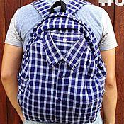Сумки и аксессуары ручной работы. Ярмарка Мастеров - ручная работа Ярко-синий рюкзак-рубашка. Handmade.