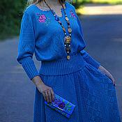 Одежда ручной работы. Ярмарка Мастеров - ручная работа Вязаный костюм бирюзовый ручной работы с вышивкой и украшением. Handmade.