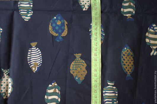 """Шитье ручной работы. Ярмарка Мастеров - ручная работа. Купить ткань """"рыбки"""". Handmade. Тёмно-синий, ткань для пэчворка, краснодар"""