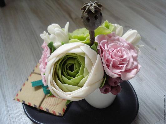Интерьерные композиции ручной работы. Ярмарка Мастеров - ручная работа. Купить Букетик в чашке. Handmade. Розовый, керамическая флористика