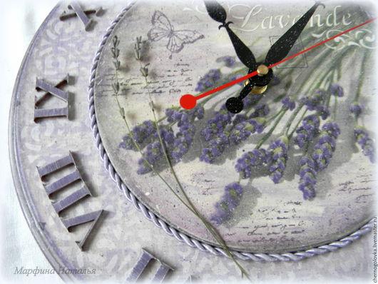 """Часы для дома ручной работы. Ярмарка Мастеров - ручная работа. Купить Прованс.Часы """"Лавандовые веточки"""".. Handmade. Сиреневый"""