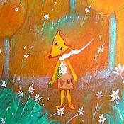 Картины и панно ручной работы. Ярмарка Мастеров - ручная работа Картина   Лисичка, ветер  цветочки ветер. Handmade.
