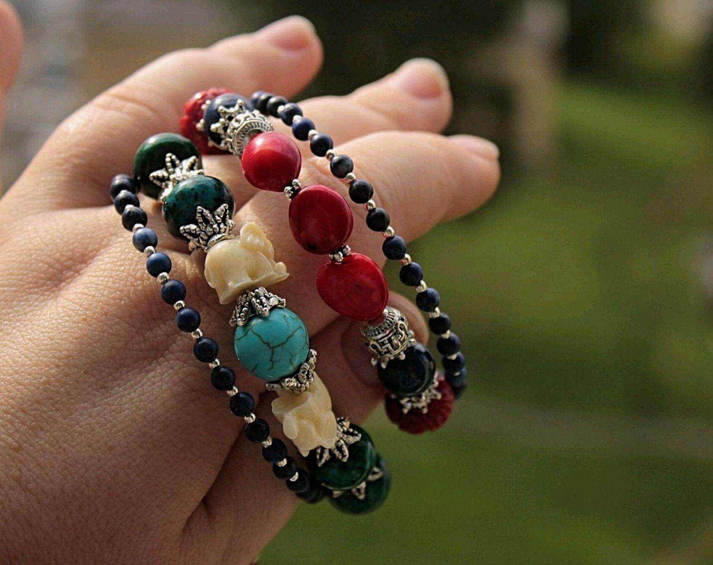 Delhi - spiral bracelet in 4 turns with brush coral turquoise lapis lazuli, Bead bracelet, Khimki,  Фото №1