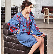 Одежда handmade. Livemaster - original item Embroidered tunic dress long sleeve Blue dress from flax (111). Handmade.
