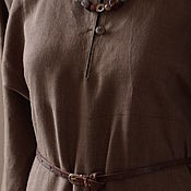 Одежда handmade. Livemaster - original item Everyday linen dress of ancient cut taupe. Handmade.